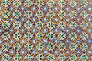 Seville - mudejar tiles in courtyard of Casa de Pilatos.