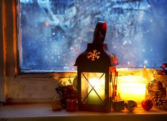 Warm Lantern on Frozen Window,Winter Magic