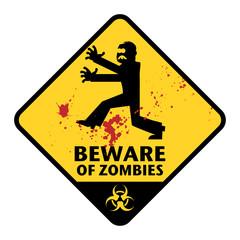 Beware of Zombies sign, vector