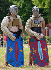 Two Helmeted Gladiators