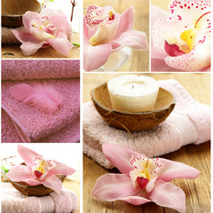 collage of spa concept - pink towel, candles and orchid