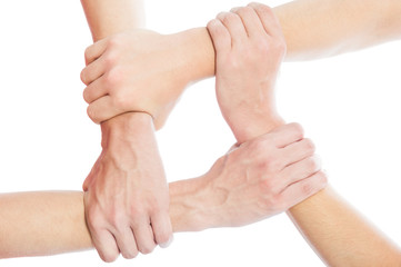 Solidarity concept using joined hands.