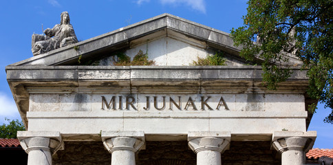 Mausoleum Facade near Trsat Castle in Rijeka, Croatia