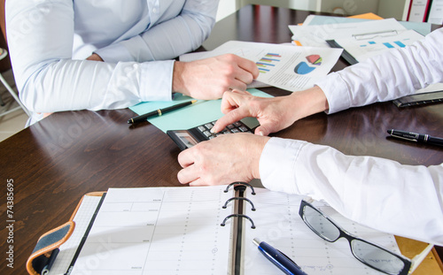 canvas print picture Business people working together