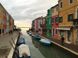 Burano, colorful houses at sunset