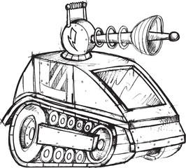 Armored Tank Vehicle Sketch Vector Illustration Art