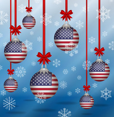 Christmas background flags United States