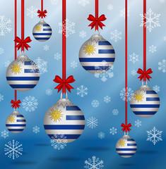 Christmas background flags Uruguay