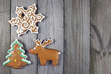christmas homemade gingerbread on wood