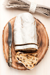 Christmas Stollen on a wooden board
