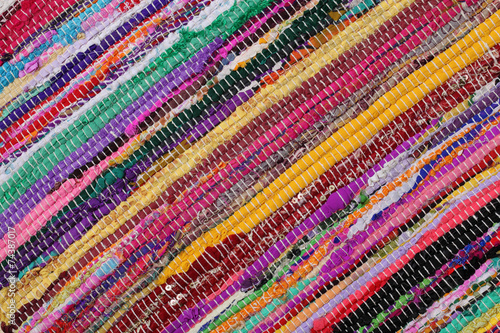 Recycling, handmade colorful ethnic motley retro rug, carpet - 74387017