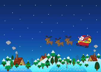Christmas theme santa claus reindeer over hills