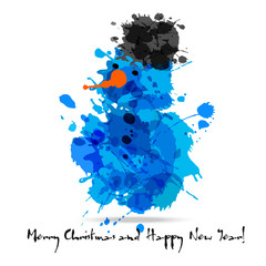 Merry christmas abstract card of blots.