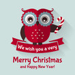Christmas card with flat owl and ribbon. Vector illustration.