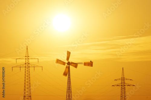canvas print picture Sonne, Wind und Strom