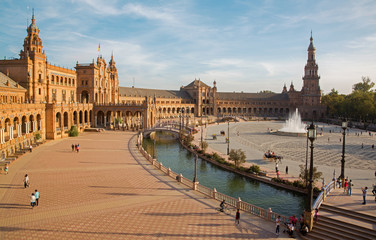 Seville - Plaza de Espana square in evening