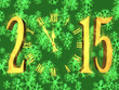 Happy new year 2015 -  clock and snowflakes