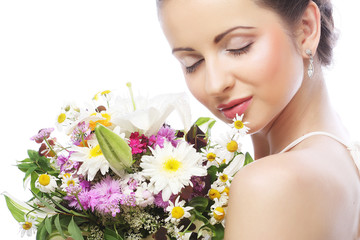 beautiful young woman with bouquet flowers