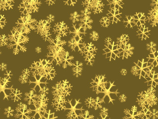 Christmas background with shiny golden snowflakes - illustration