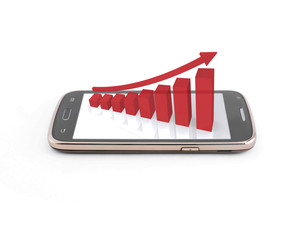 Business graph on the smartphone mobile,red color