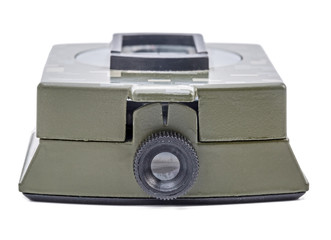 Army green Magnetic Compass isolation on white.