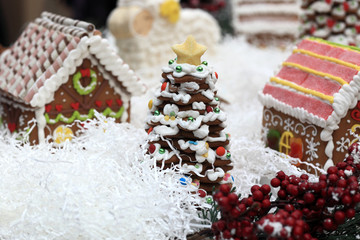 Gingerbread Christmas tree in village