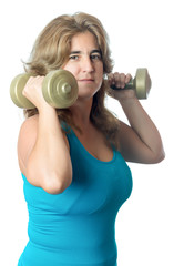 Hispanic woman exercising with weights