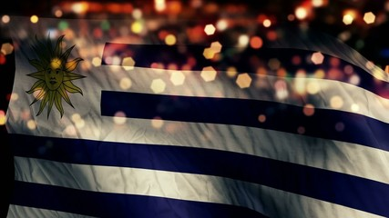 Uruguay Flag Light Night Bokeh Abstract Loop Animation