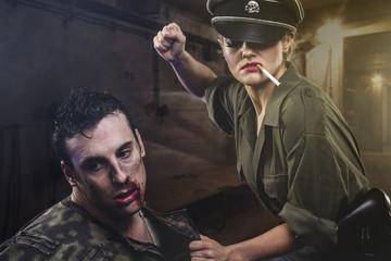 reenactment, Official German woman, representation of tyranny an