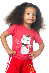 Small afroamerican girl wearing colorful clothes