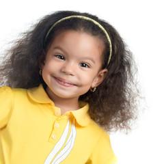 Cute afroamerican small girl smiling