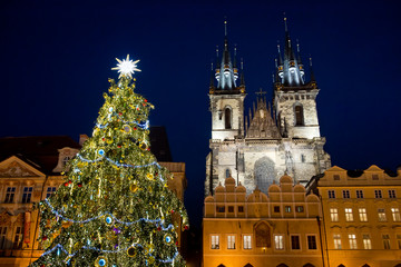 Christmas tree on Old Town Square in Prague