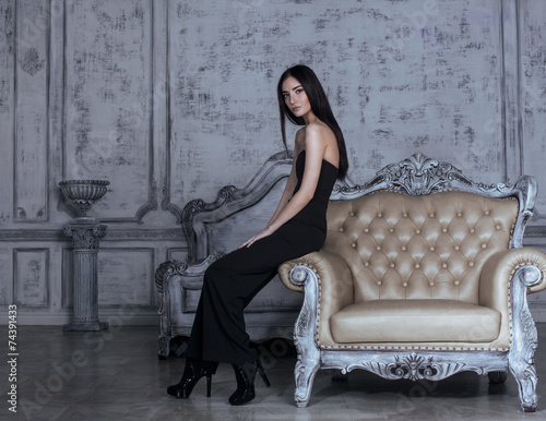 beauty young brunette woman in luxury home interior - 74391433