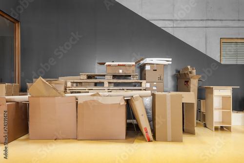 Leinwandbild Motiv Umzug Kartons