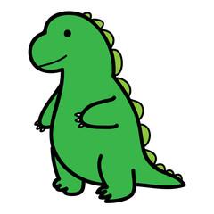 standing big green lizard in cartoon style vector