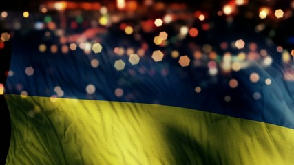 Ukraine Flag Light Night Bokeh Abstract Loop Animation