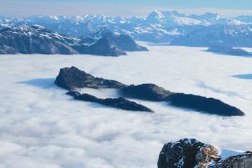 Overcast over lake in Alps. Lucerne, Switzerland