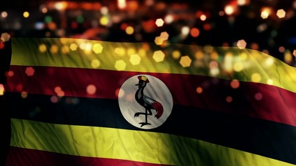 Uganda Flag Light Night Bokeh Abstract Loop Animation