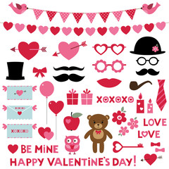 Valentine's Day set - photo booth props and design elements