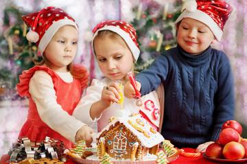 Three kids decorated