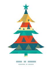 Vector vibrant ikat stripes Christmas tree silhouette pattern