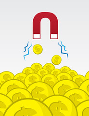 Magnet puling in gold coins