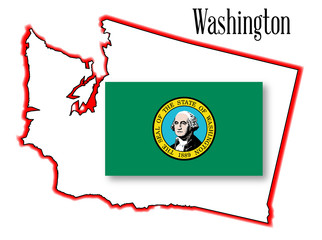 Washington State Map and Flag