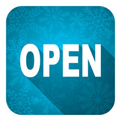 open flat icon, christmas button