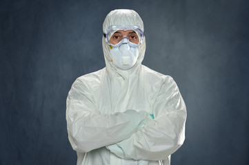 Man in Hazmat Suit and Protective Gear