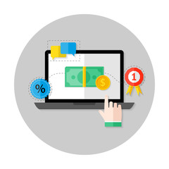 Online Payment Flat Circle Icon