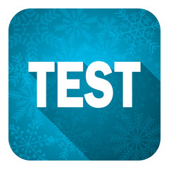 test flat icon, christmas button