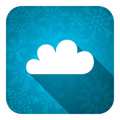 cloud flat icon, christmas button, waether forecast sign