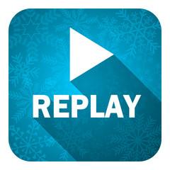 replay flat icon, christmas buttonn