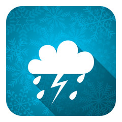 storm flat icon, christmas button, waether forecast sign